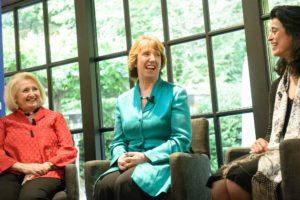 Cathy Ashton smiles on a panel