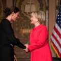 Hillary Clinton shakes hands with Elena Ambrosi