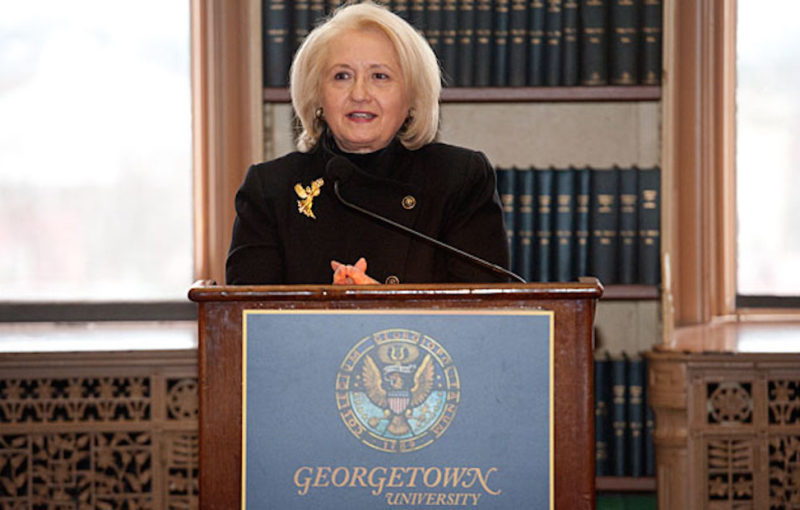 Ambassador Verveer speaks from a podium