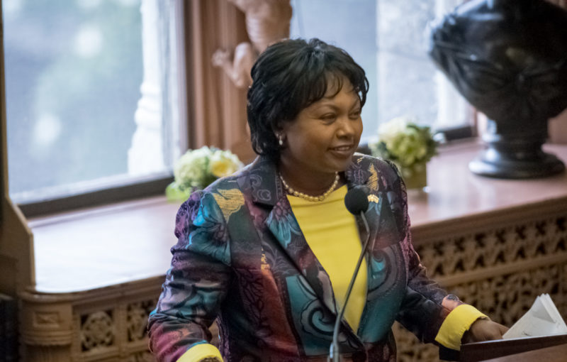 Rwandan Ambassador addresses event attendees in Riggs Library at Georgetown