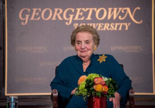 Madeleine Albright speaks at Georgetown