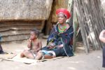 Woman and child in ethnic dress in South Africa