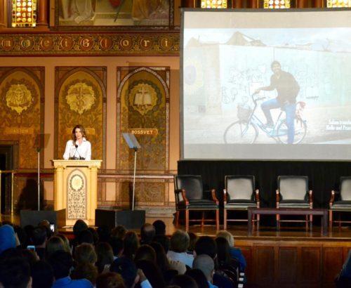 Queen Rania speaks from podium
