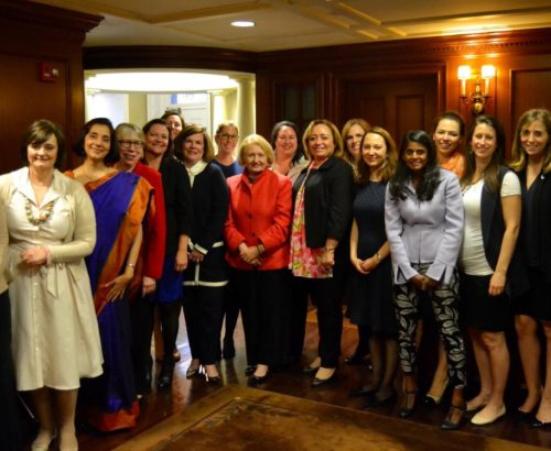 Melanne Verveer and group of students and parents