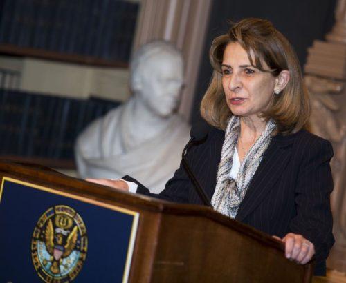 Ambassador of Jordan speaks from a podium
