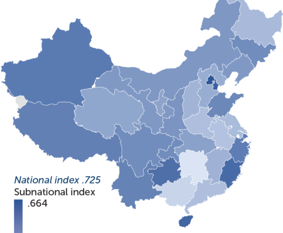 Map of China in various shades of blue