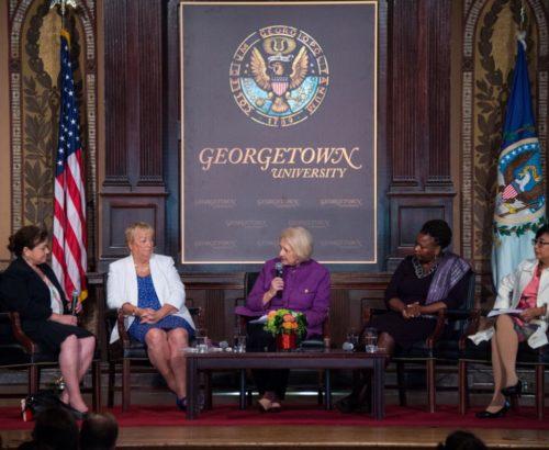 Ambassador Verveer addresses panel at Georgetown