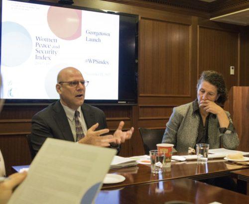Dean Joel Hellman and Dr. Jeni Klugman speak at a Georgetown roundtable
