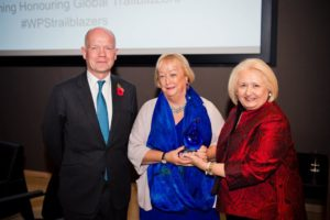 Monica McWilliams is presented with an award