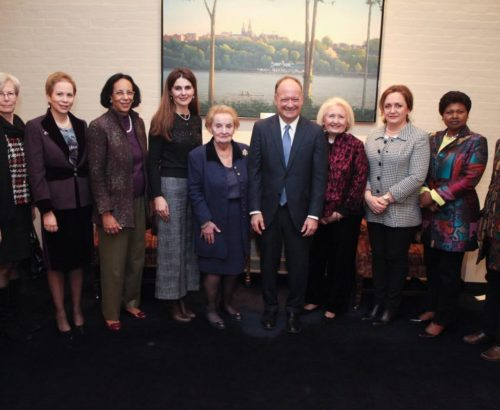 Women ambassadors gather with Georgetown hosts Albright, DeGioia and Verveer
