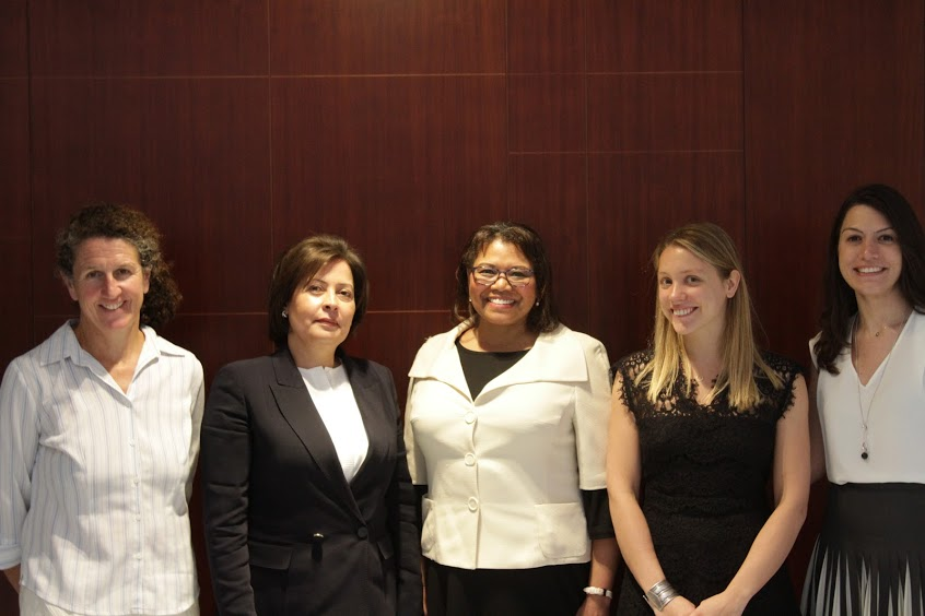 GIWPS' Sophie Huve stands with panelists at CSIS