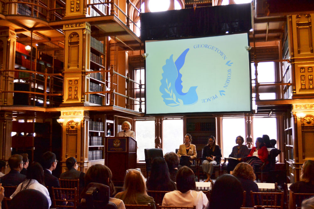 At Georgetown university Amb. Melanne Verveer delivers opening remarks