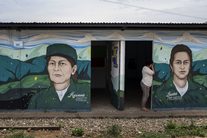 Picture of woman standing at the doorway of a building. The building has murals of Mariana Paez and Lucero Palmera on it