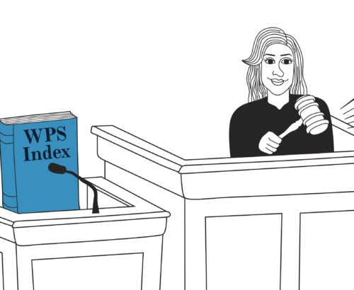 Cartoon of Georgetown research on witness stand in court