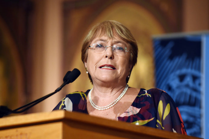 Bachelet delivers remarks at Georgetown awards ceremony