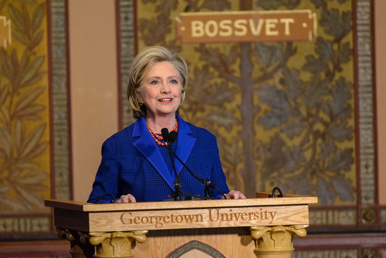 Hillary Clinton speaks at Georgetown podium