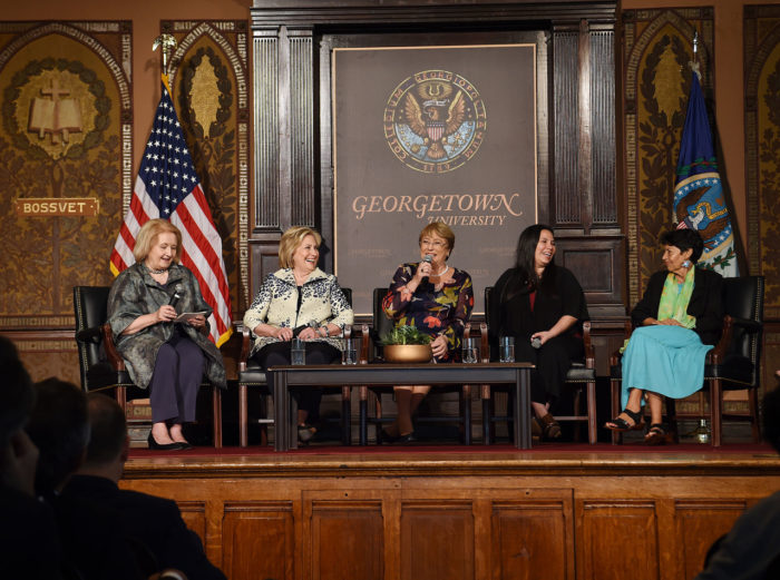 Panel discussion with Melanne Verveer, Hillary Clinton, Michelle Bachelet, Rosa Anya, and Marta Velasquez