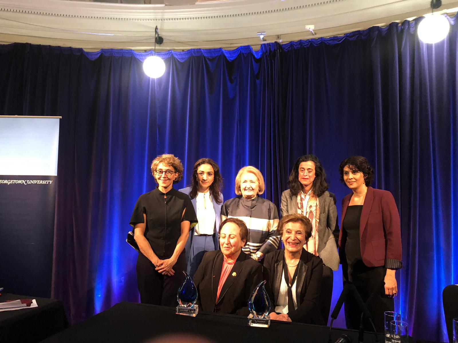 Awardees with panelists and Ambassador Melanne Verveer at awards ceremony celebrating Iranian Women's Leadership