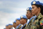 A line of peacekeepers.