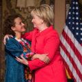 Hillary Clinton hugs Jineth Bedoya