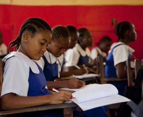 Adolescent girls at school in Liberia
