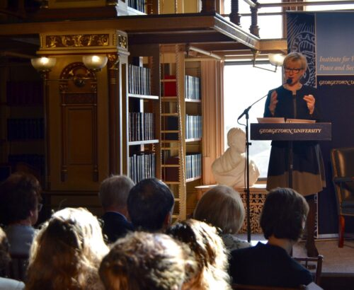 Margot Wallström, the Swedish Minister for Foreign Affairs and Deputy Prime Minister, spoke at Georgetown University on March 31
