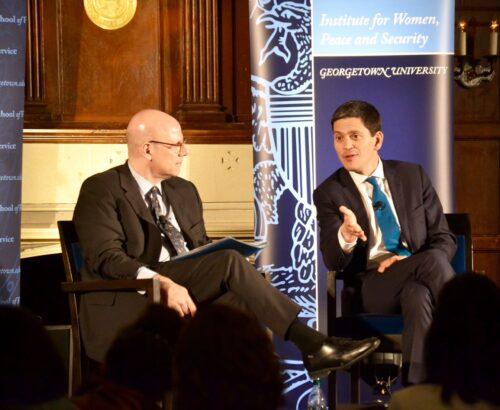 SFS Dean Hellman talks to IRC Head David Miliband