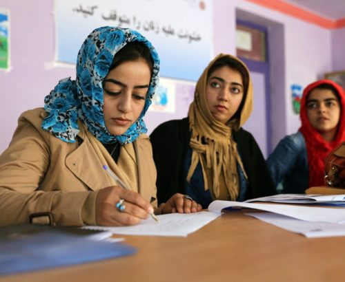 Women in Afghanistan undergoing journalist training