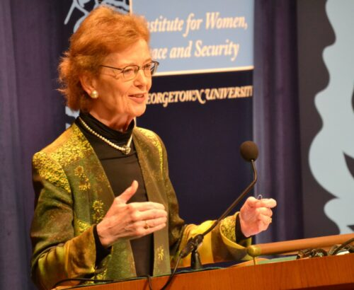 Mary Robinson discusses human rights and environmental threats at Georgetown