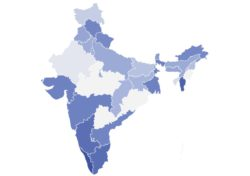 Map of India in various shades of blue.