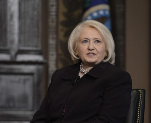 Amb. Melanne Verveer speaking at event