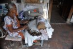 Woman makes hand crafts in Sri Lanka