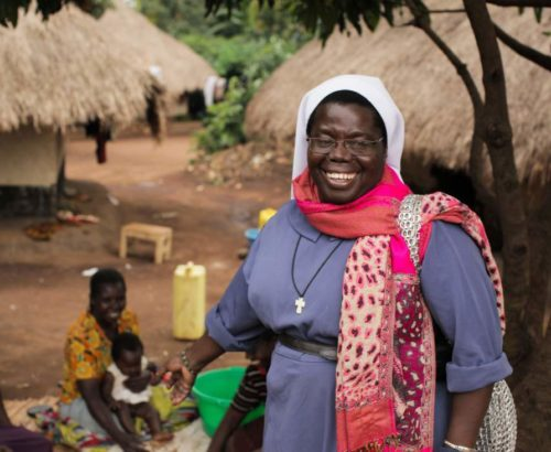 Sister Rosemary Nyirumbe photographed in Paidha, Uganda, where she was born and raised, giving tour while shooting for the film, Sewing Hope. The picture was taken in October of 2011. Photo Credit: Derek Watson