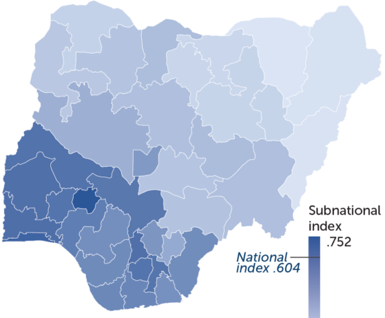 Map of Nigeria in various shades of blue