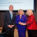 Iryna is presented an award by Melanne Verveer and William Hague