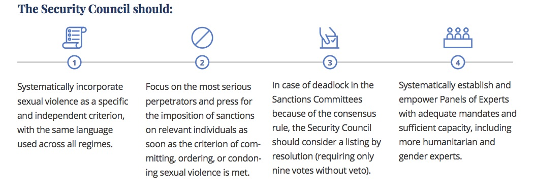 recommendations for UNSC on how to prevent and punish sexual violence in conflict