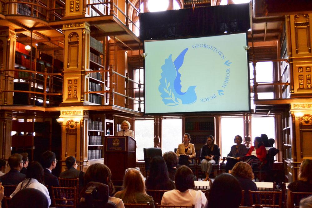 At Georgetown university Amb. Melanne Verveer delivers opening remarks