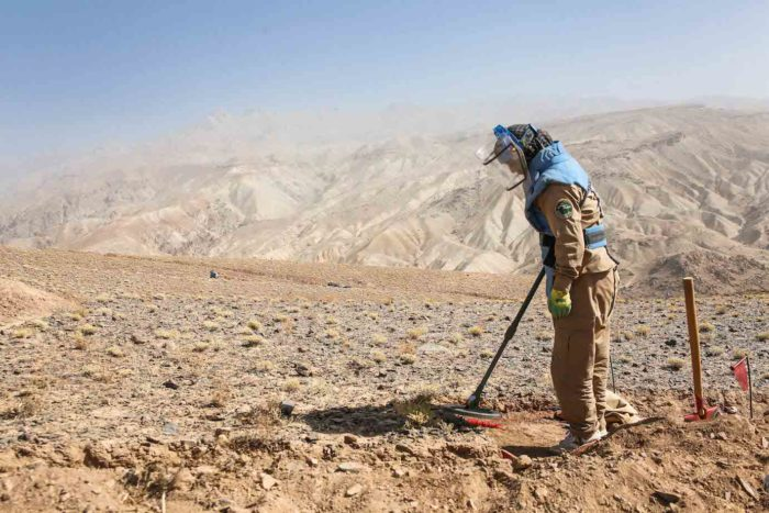 Zohra, one of de-miners working to clear mines in Bamyan Province, Afghanistan.
