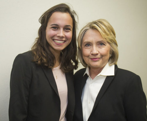 GIWPS student Abbey Nichols with Hillary Clinton