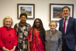 Picture from the Feminist Humanitarian Policy launch with Amb. Melanne Verveer, Rwandan Amb. Mathilde Mukantabana and IRC case officer Marie Ngirimana, Sec. Madeleine Albright, and IRC President and CEO David Miliband