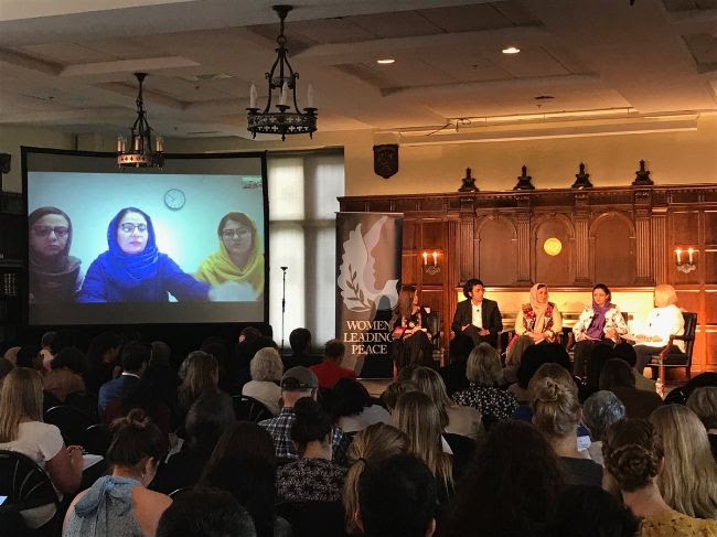 Afghan women join a Georgetown event via Skype