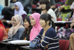 Malaysian students in a lecture hall