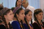 Women in traditional Turkmenistan attire