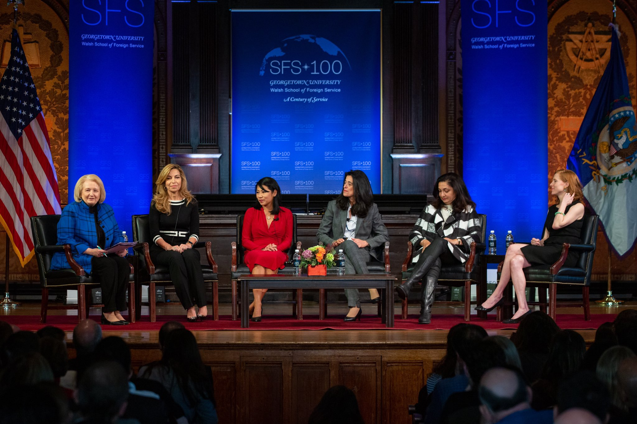 Melanne Verveer moderates panel in Gaston Hall about women's leadership