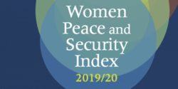 Cover of the 2019/20 Women, Peace and Security Index. Large title on blue, yellow, and red abstract circles.