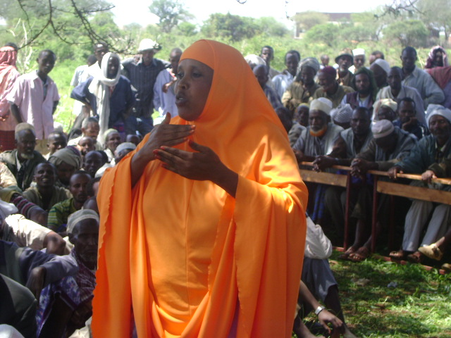 A Gari woman speaks at a community consultation on the draft peace accord in Hudet, Somali Region, Ethiopia.