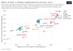 Share of male to female employment in the services industry