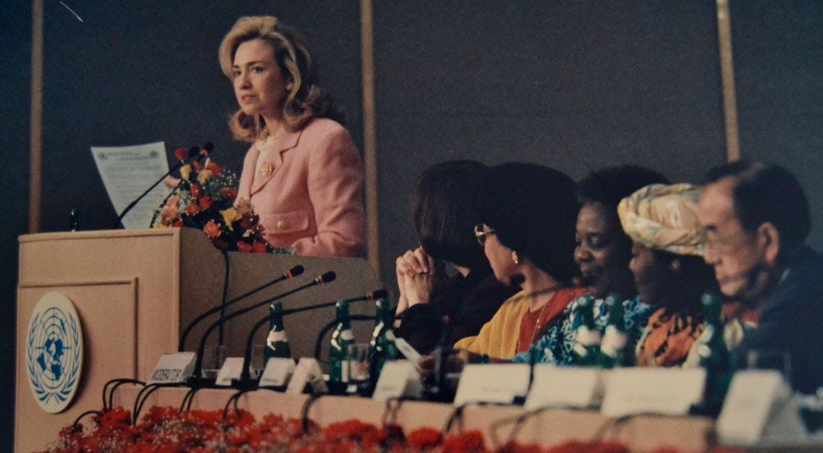 Hillary Clinton speaks at the UN Fourth World Conference on Women in Beijing in 1995.