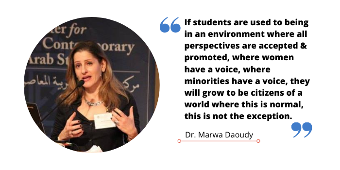 "Quote image of Dr. Marwa Daoudy that reads, ""If students are used to being in an environment where all perspectives are accepted, promoted, where women have a voice, where minorities have a voice, they will grow to be citizens of a world where this is normal, this is not the exception."""
