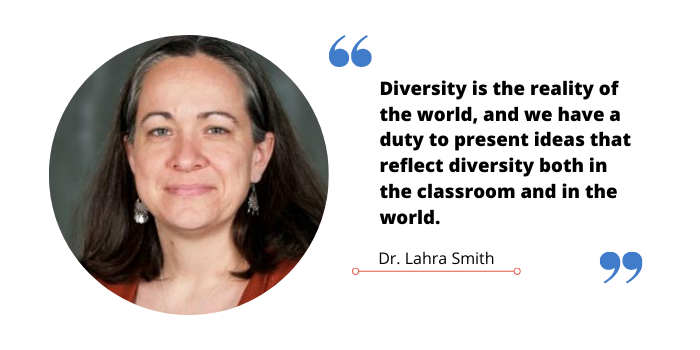 "Quote graphic of Dr Lahra Smith that reads ""Diversity is the reality of the world, and we have a duty to present ideas that reflect diversity both in the classroom and in the world."""